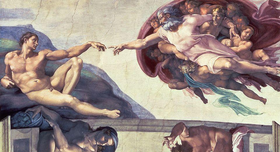 Gott erschafft Adam - gesehen von Michelangelo