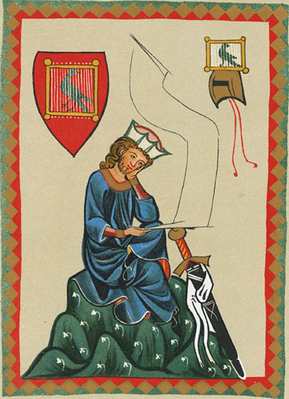 Mittelalter: Walther von der Vogelweide (um 1170 bis 1230) ist der bekannteste deutsche Minnesänger. Von ihm sind rund 100 Texte überliefert