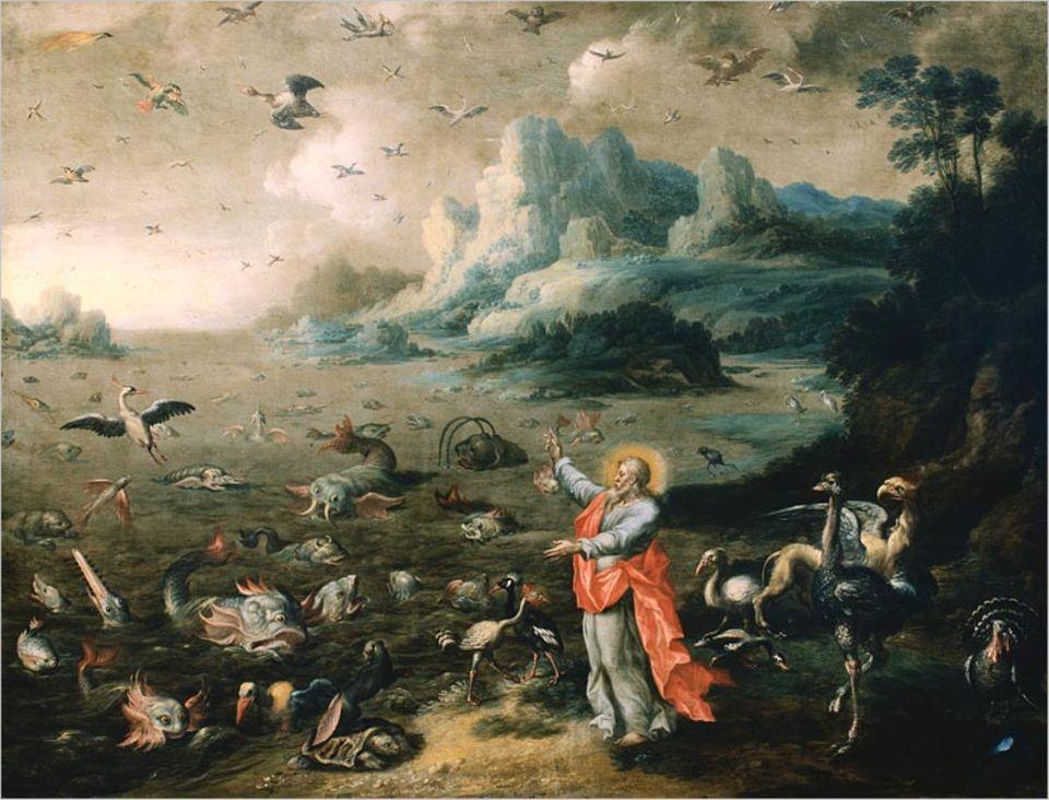 """""""Und Gott schuf große Walfische und alles Getier, das da lebt und webt, davon das Wasser wimmelt, ein jedes nach seiner Art, und alle gefiederten Vögel, einen jeden nach seiner Art."""" So stellte sich der flämische Maler Jacob Bouttats um 1700 den fünften Tag der Schöpfung vor"""