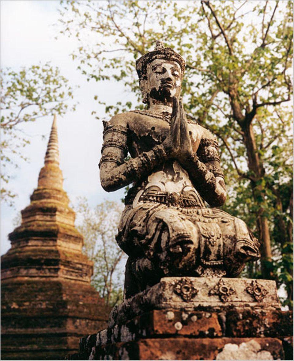 Filigrane Buddha-Figurgen, ein Wald aus alten Teakbäumen, von Moos überwucherte Pagoden und Tempelruinen - kaum eine Provinzstadt bietet solch verwunschene Winkel wie Chiang Saen am Mekong, nur zwölf Kilometer vom Goldenen Dreieck entfernt. Im 11. und 12. Jahrhundert befand sich hier der Sitz eines nordthailändischen Königreichs - sein eleganter Kunsstil fasziniert bis heute