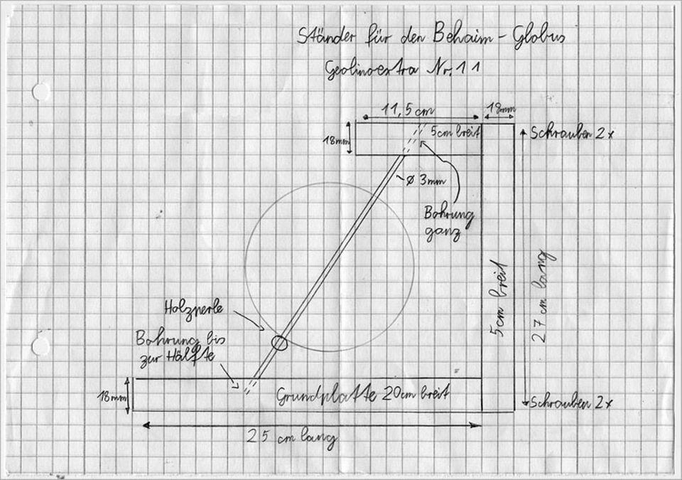 Basteltipp: Skizze für den Bau des Globusständers