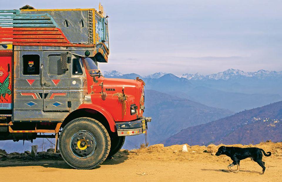 """Am Fuß des Himalayas schoss er das Titelfoto seines Buchs: """"Der Hund kam einen weiten Weg von rechts. Ich stand da und wartete, bis er in den Bildausschnitt hineinlief."""""""