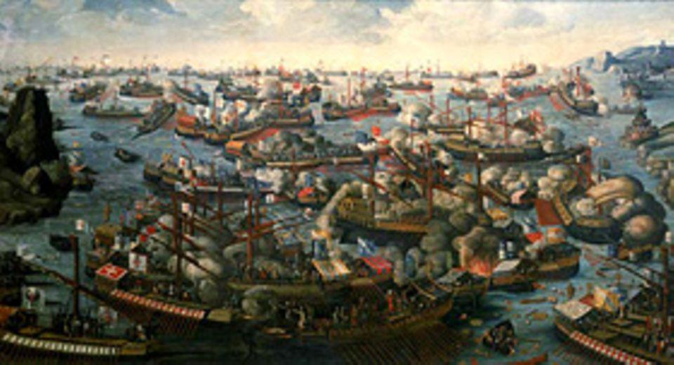 Ein unbekannter Künstler malte den Sieg bei Lepanto 1571: Die größte Galeerenschlacht aller Zeiten endet mit einem Triumph der Christen über die Muslime