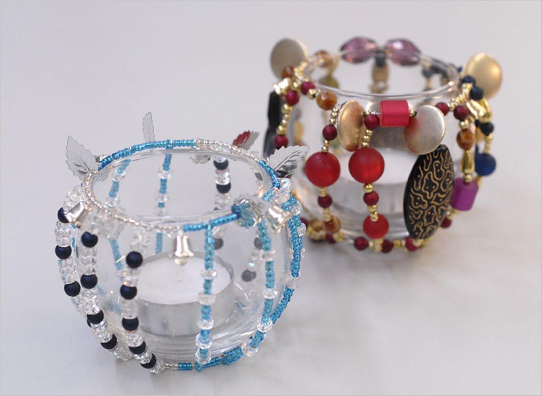 Bastelanleitung: Perlen-Teelichter