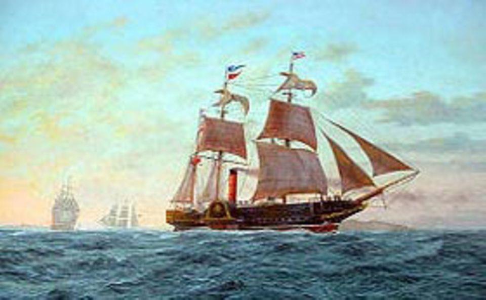 """Industrielle Revolution: Der kanadische Reeder Samuel Cunard leitet eine neue Epoche der Schifffahrt ein. Sein erstes Schiff, der 1840 fertig gestellte Dampfer """"Britannia"""", hat drei Masten für Hilfssegel und legt die Strecke von Großbritannien nach Amerika in 13 Tagen zurück"""