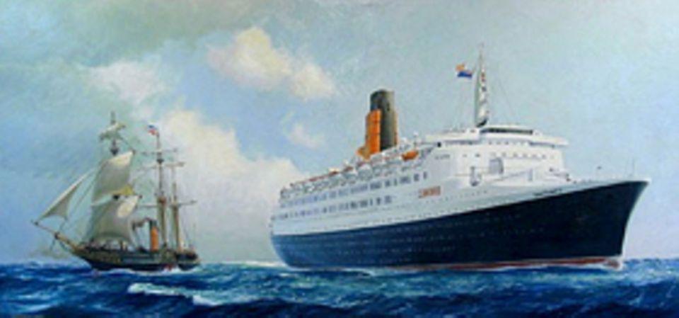 """Industrielle Revolution: 1969 läuft der Cunard-Luxusliner """"Queen Elizabeth 2"""" zur Jungfernfahrt aus. Das Passagierschiff ist mit 294 Metern gut viermal so lang wie die """"Britannia"""" von 1840"""