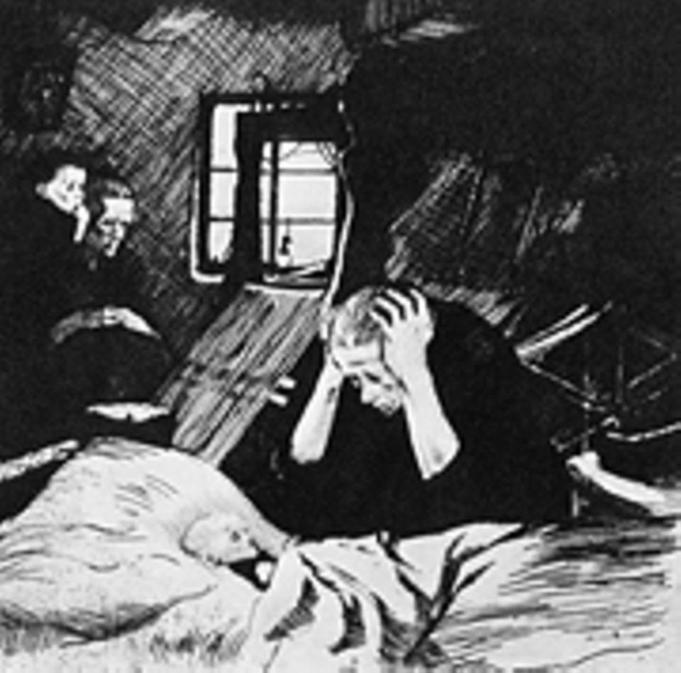 """Industrielle Revolution: Eine Mutter wacht bei ihrem hungernden, kranken Kind. Kollwitz prangert mit ihren Werken das Elend der Arbeiterklasse an (verworfene Platte des Zyklus """"Ein Weberaufstand"""")"""
