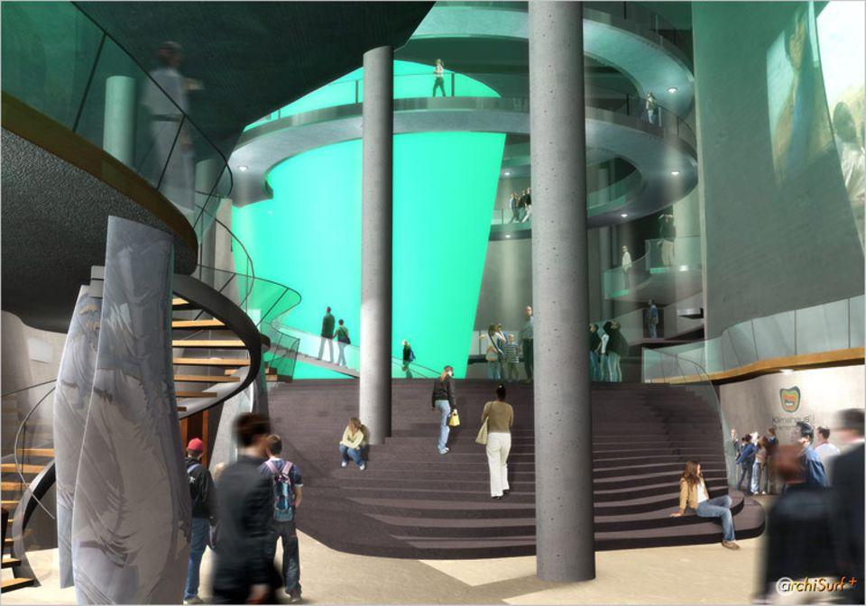Video: Futuristische Architektur: Säulen, wellenförmige Galerien und Wendeltreppen prägen das Innenleben des Klimahauses