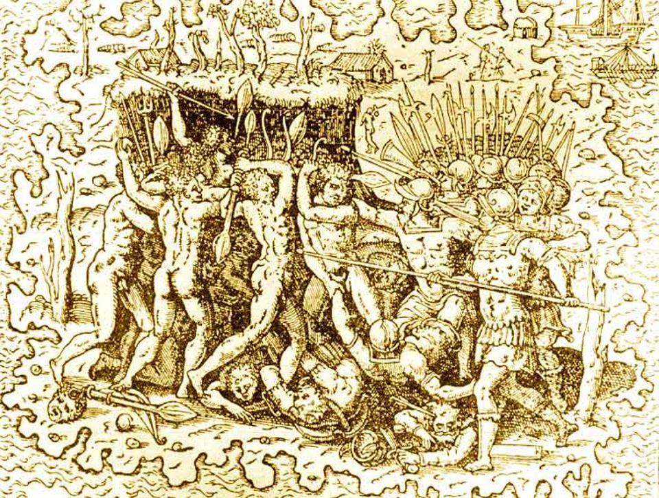 Geschichte Spaniens: Ferdinand Magellan umsegelt im Auftrag der spanischen Krone die Welt. 1521 landet er als erster Europäer auf den Philippinen – und wird im Kampf gegen die Ureinwohner getötet (zeitgenössischer Kupferstich)