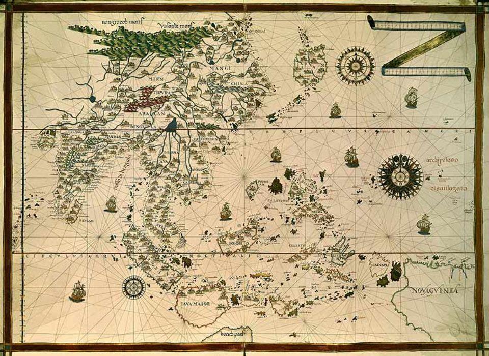 Geschichte Spaniens: Die nach Philipp II. benannten Philippinen (Bildmitte) sind Spaniens wichtigste asiatische Kolonie. Sie gehören bis 1898 zum spanischen Weltreich – mehr als 330 Jahre