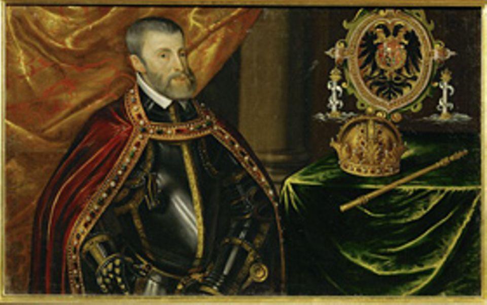 Geschichte Spaniens: Karl I. ist der erste Herrscher über ein globales Imperium, das neben Spanien Teile Amerikas und ab 1521 die Philippinen umfasst. 1519 wählen ihn die deutschen Kurfürsten auch zum Kaiser des Heiligen Römischen Reiches (als Karl V.)