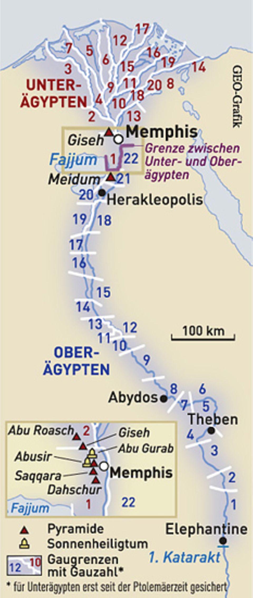 Altes Ägypten: Altes Reich: Schon früh schaffen die Pharaonen eine straffe Administration und teilen das Land in etwa 40 Verwaltungsdistrikte ein