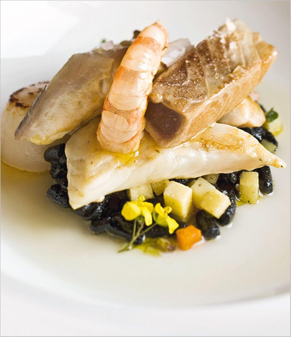 Eine Delikatesse: pesci rosolati - Fisch und Meeresfrüchte auf schwarzen Passatelli und Quittengemüse