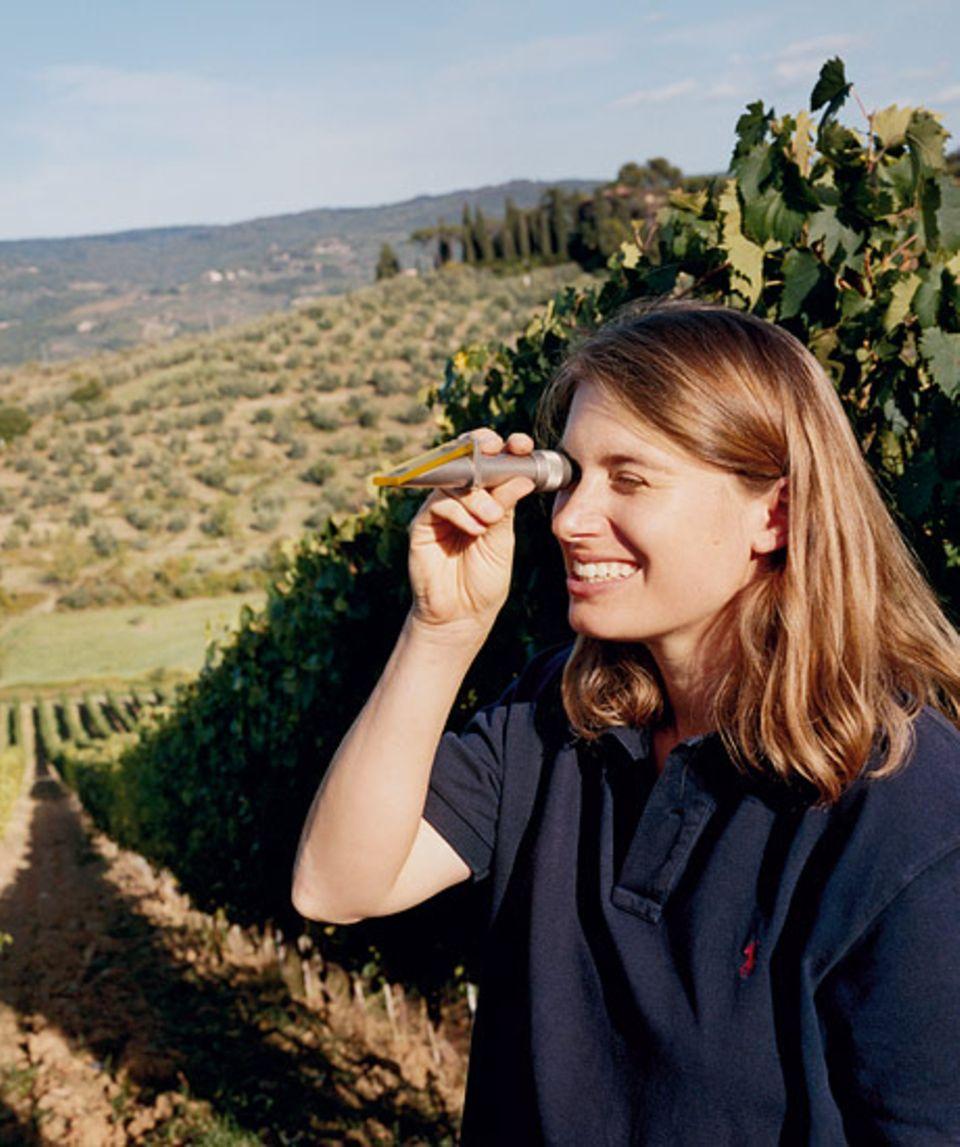Reif für die Ernte? Jungwinzerin Vicky Schmitt-Vitali misst mit dem Refraktometer das Mostgewicht der Trauben, das entscheidend für den Alkoholgehalt des Weines ist