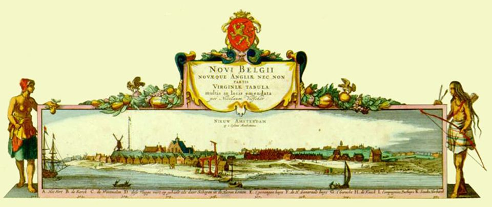 New York 1625-1945: Seinen Bericht über Nieuw Amsterdam illustriert van der Donck mit einem geschönten Bild der Stadt. Die Ansicht ist Teil seiner politischen Strategie und soll Siedler zur Auswanderung in die Kolonie bewegen