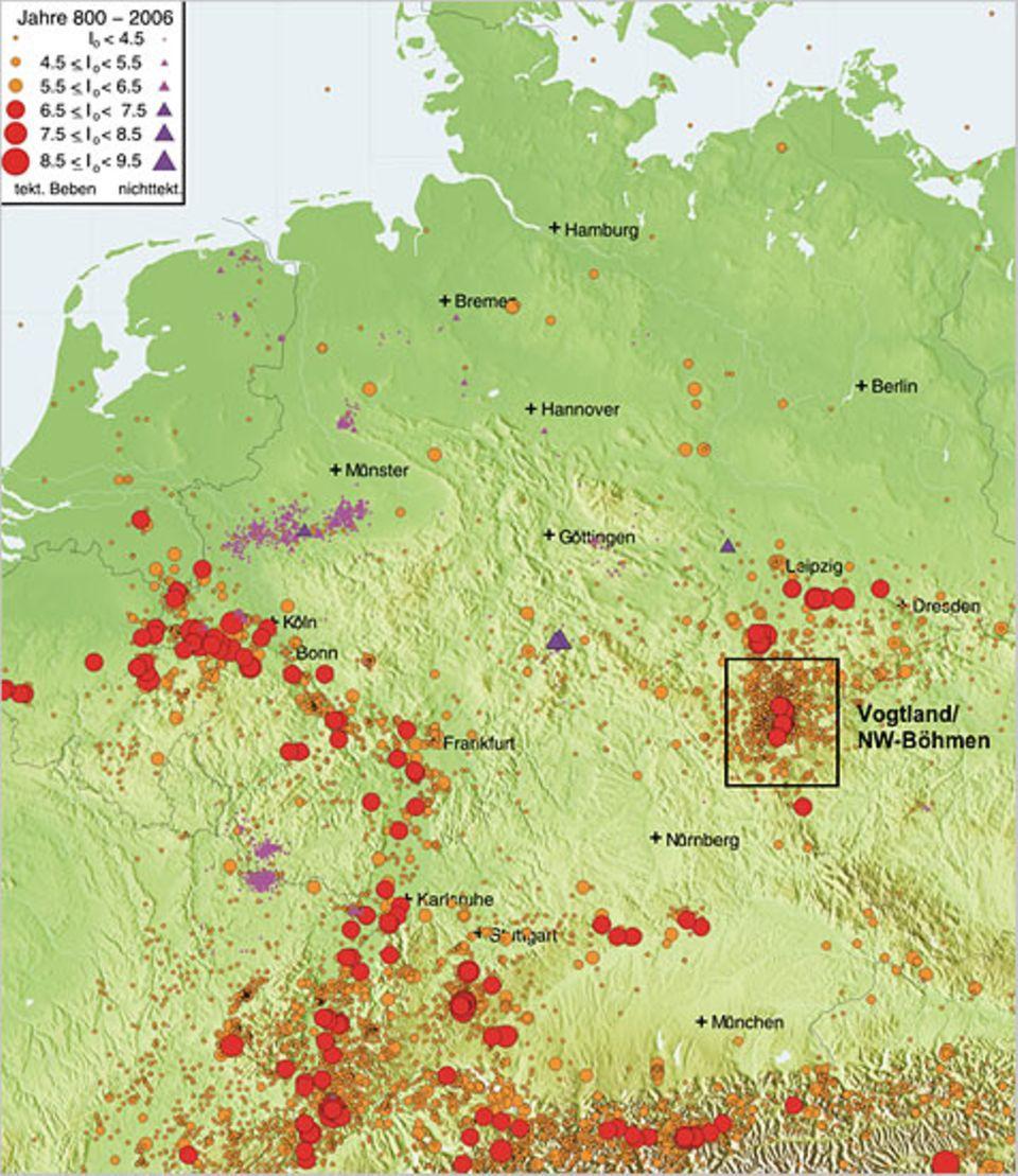 Erdbeben in Deutschland in den Jahren 800-2006. Im Rechteck: die Schwarmbeben der Region Vogtland/Nordwest-Böhmen