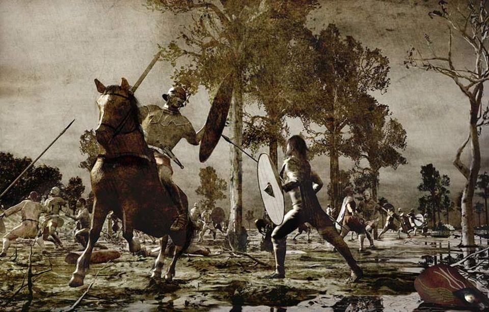 Die Germanen: An der schmalsten Stelle zwischen Gebirge und Moor brechen die Germanen am dritten Kampftag hinter einem mächtigen Erdwall hervor und greifen die geschwächte römische Armee an. Nur wenige Legionäre können entkommen