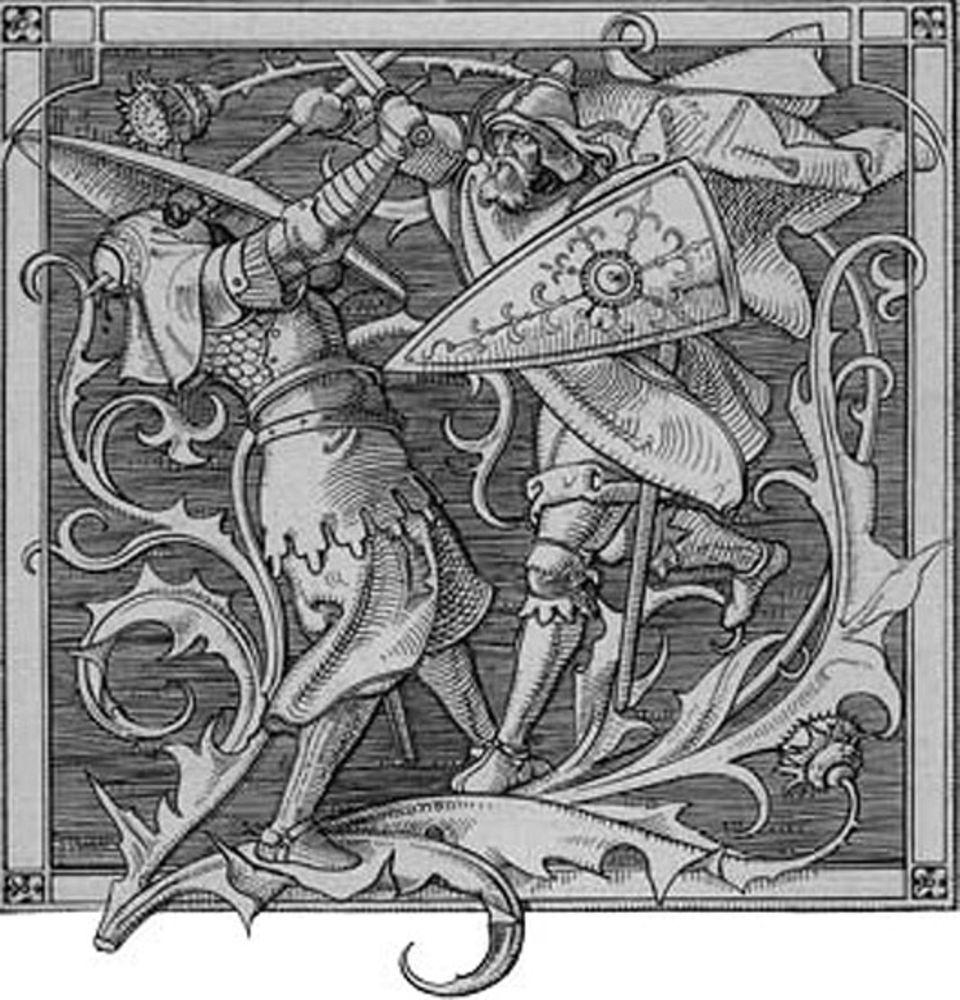 Die Germanen: 'Wie Iring erschlagen ward' - ein Holzstich aus der Marbachschen Ausgabe des Nibelungenliedes, Leipzig 1840, nach Zeichnung von Alfred Rethel (1816-1859)