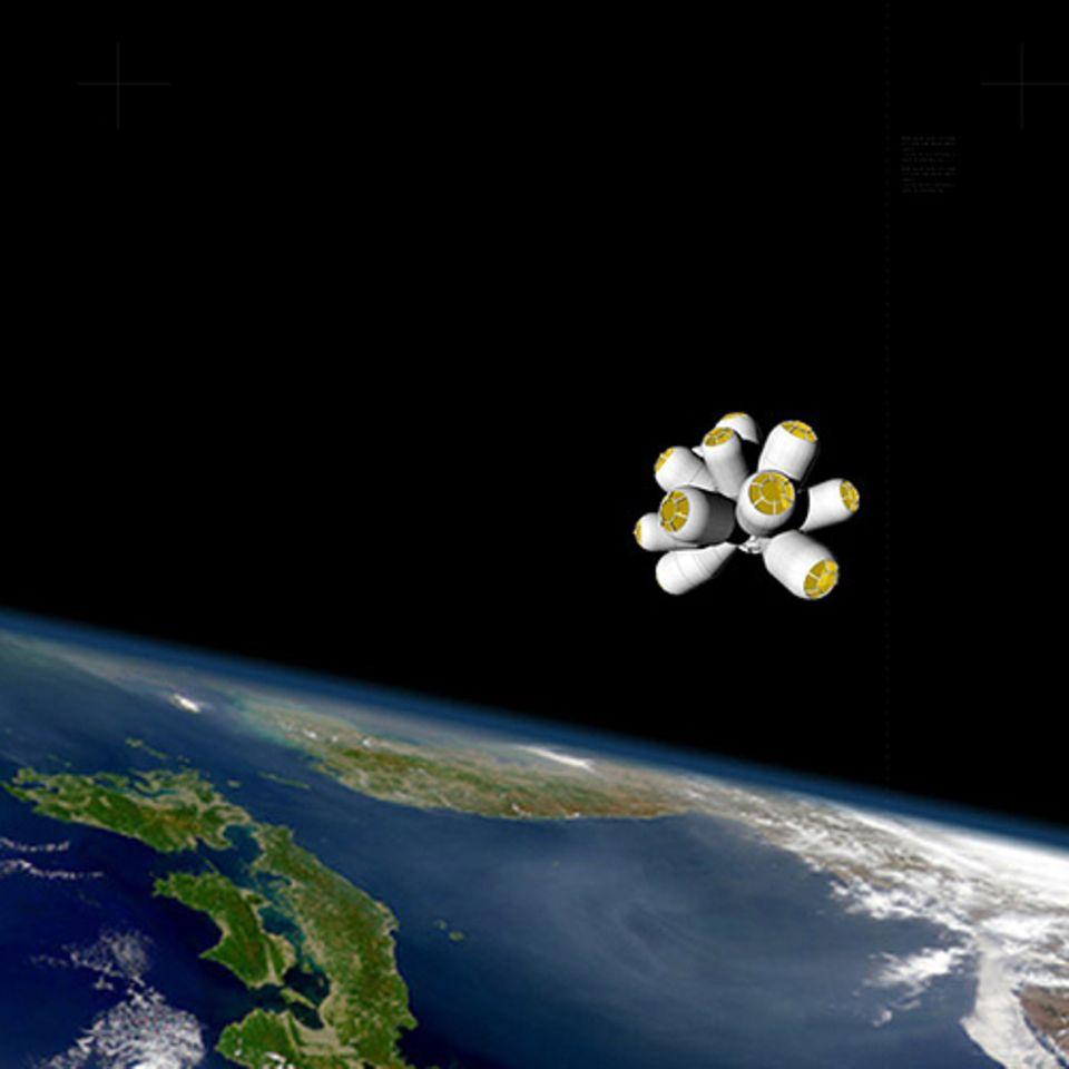 """Die Optik ähnelt der eines Molekül-Modells aus dem Chemieunterricht: das Weltraum-Hotel """"Galactic Suite"""""""