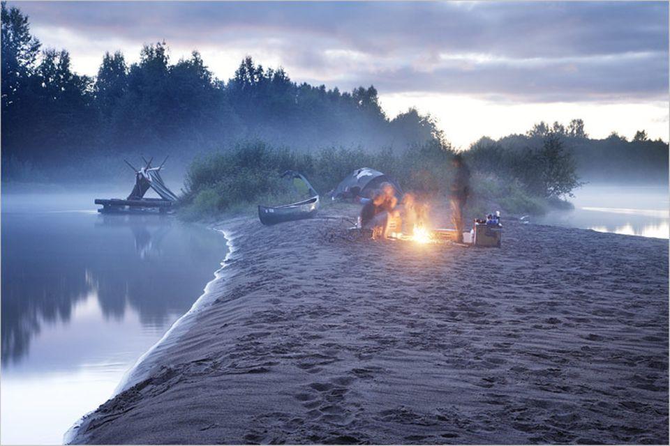 Feuerabend auf der Sandbank