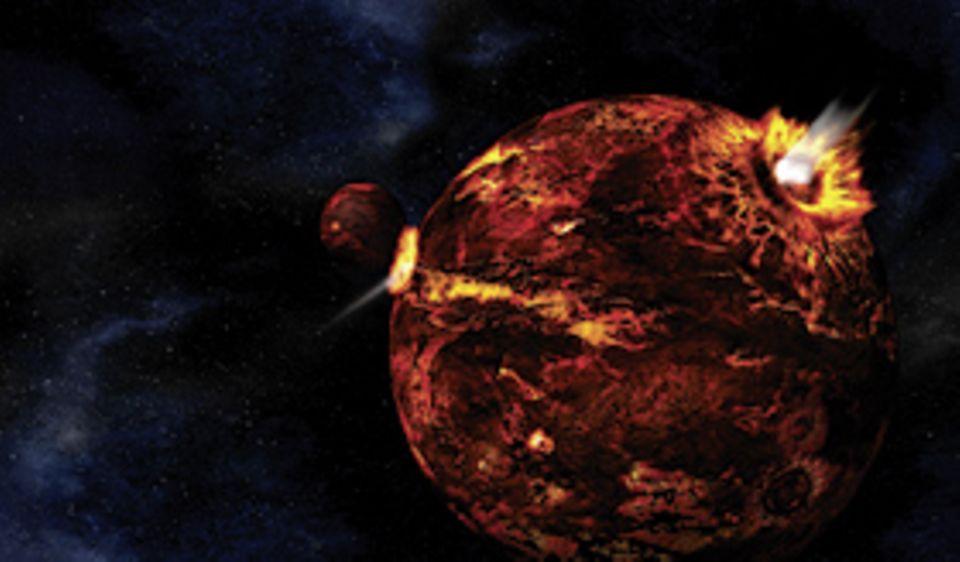 Naturgewalten: Erde und Mond, vor 4,43 Milliarden Jahren. Zwei Glutbälle, deren Oberfläche brüchig und durch Meteoritenschläge aufgerissen ist. Noch gibt es keine Atmosphäre, kein Wasser, kein Leben