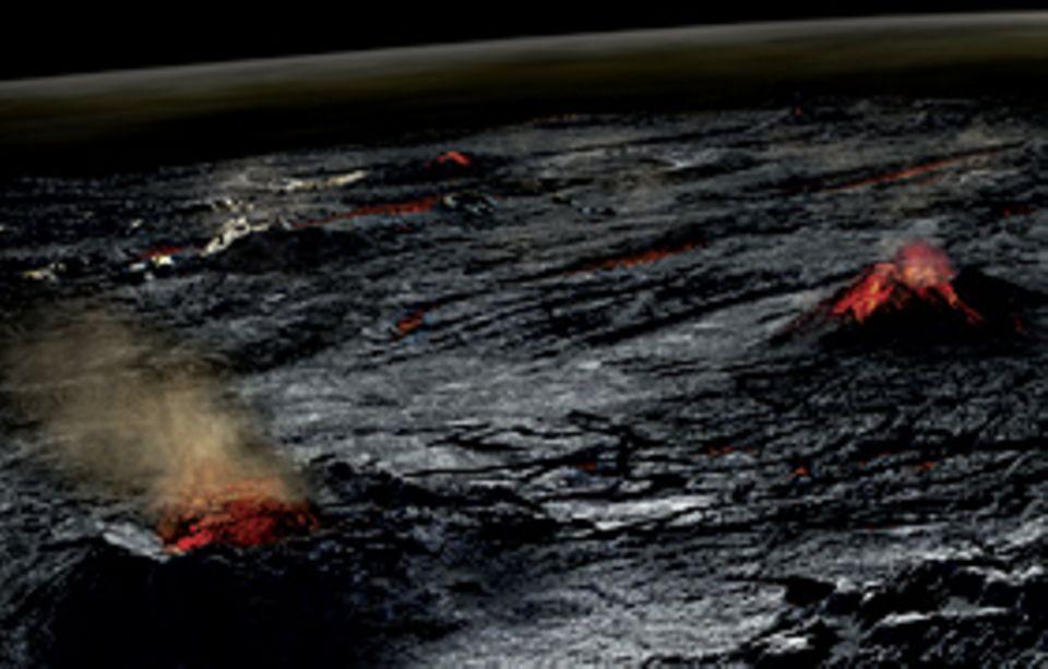 Naturgewalten: Feuerberge in der inzwischen etwas erkalteten Erdkruste speien vor 4,4 Milliarden Jahren Gase aus dem Inneren des Planeten an die Oberfläche. Kohlendioxid, Stickstoff, Schwefelverbindungen und Wasserdampf bilden die Ur-Atmosphäre