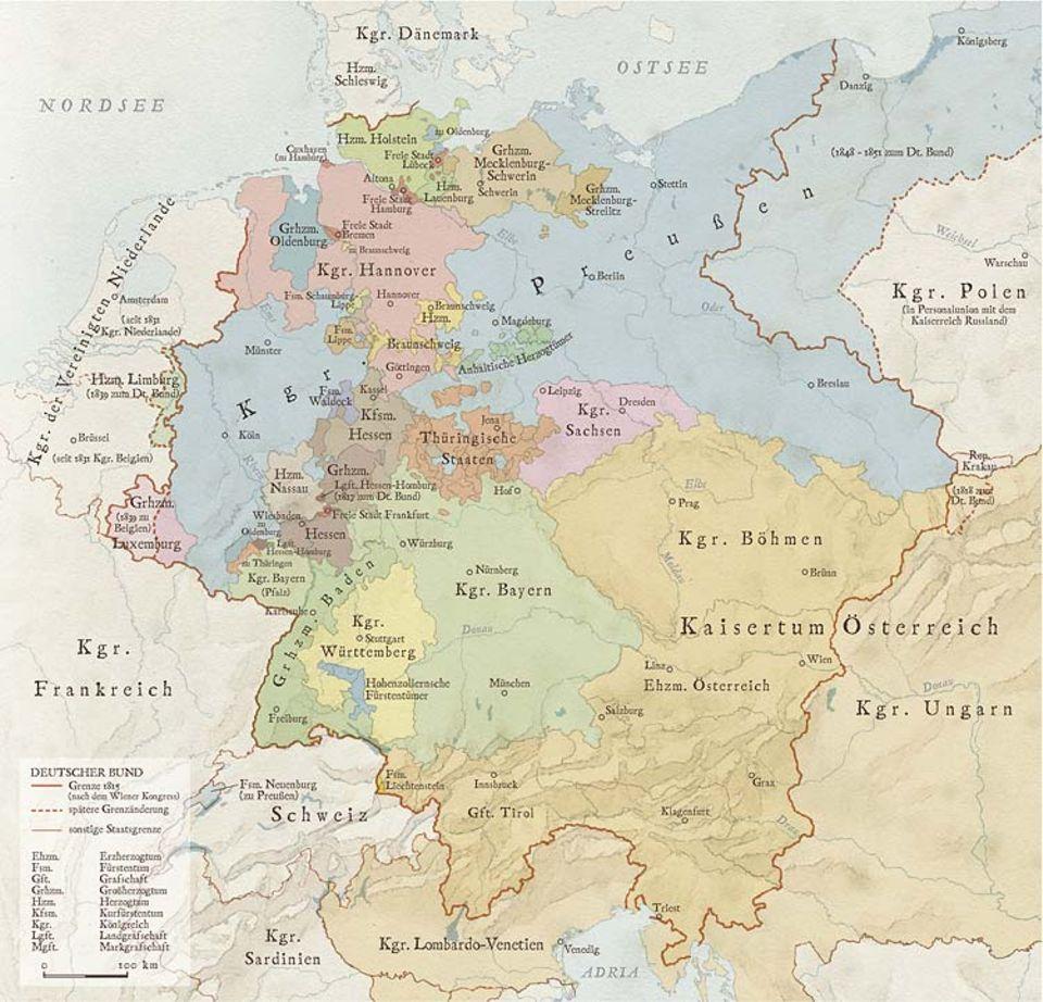 Die Deutsche Romantik: Ende des 18. Jahrhunderts ist das Heilige Römische Reich in Hunderte weltliche und geistliche, weitgehend selbstständige Fürstentümer zergliedert. 1806 jedoch muss Kaiser Franz II. auf Druck des siegreichen Franzosen Napoleon die Krone niederlegen, das römisch-deutsche Reich existiert nicht mehr. Erst nach dem Ende der Franzosenherrschaft gründet sich aus dessen Trümmern 1815 der Deutsche Bund, in dem Preußen und Österreich das 38 Mitglieder zählende Bündnis flächenmäßig dominieren