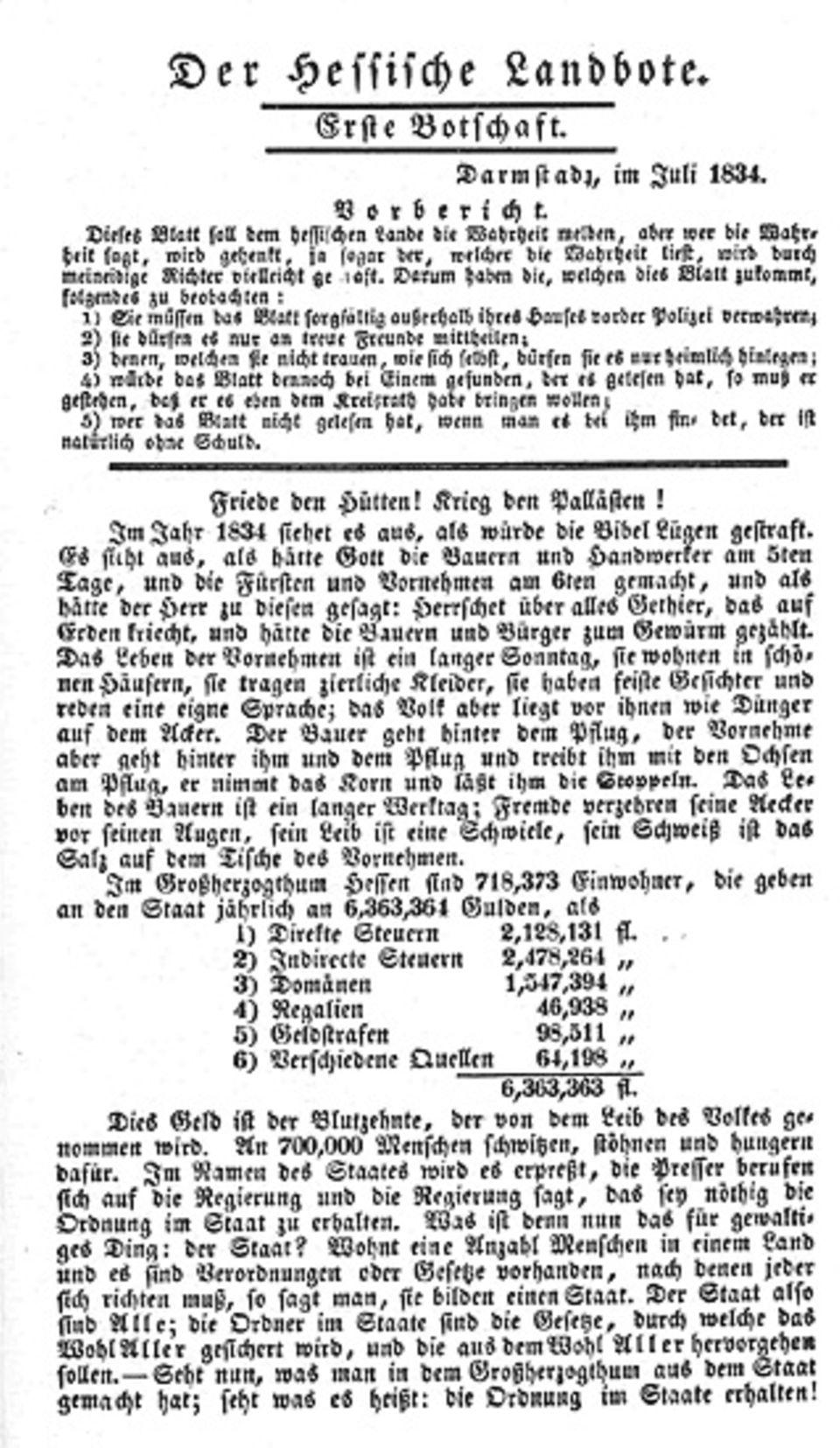 """Die deutsche Romantik: """"Der Hessische Landbote"""" von 1834: Den Behörden gilt Büchners Werk unter allen Flugschriften des Jahres als """"die bei weitem gefährlichste und strafbarste"""""""