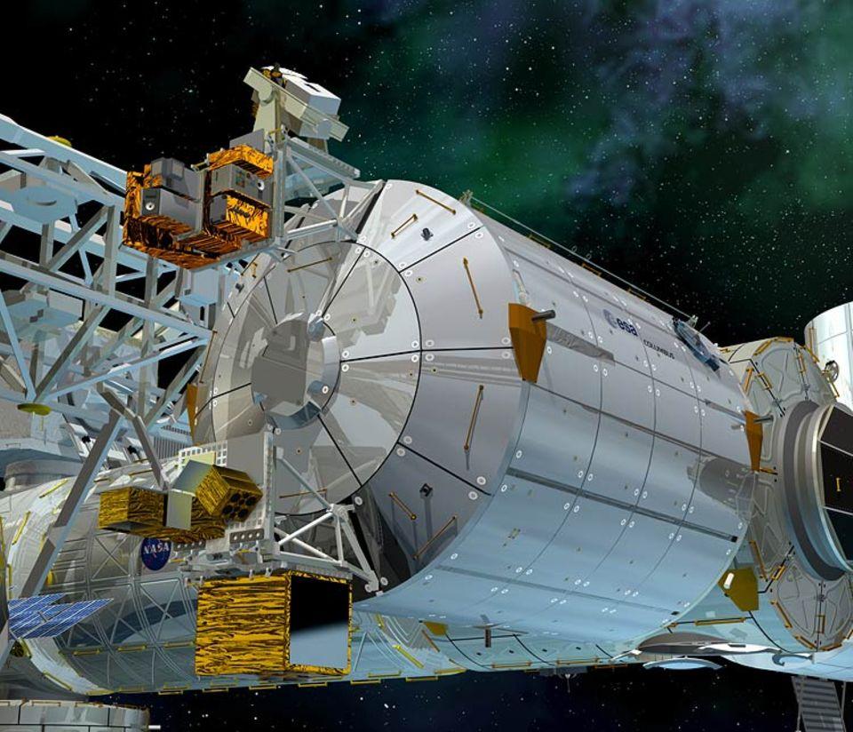 Das Columbus-Labor soll am Ende des Hauptarms der ISS andocken
