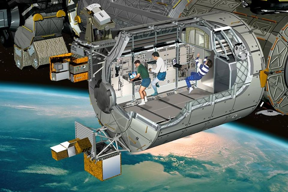 In diesem Computerbild sieht man, wie die Wissenschaftler in dem Weltraum-Labor arbeiten werden