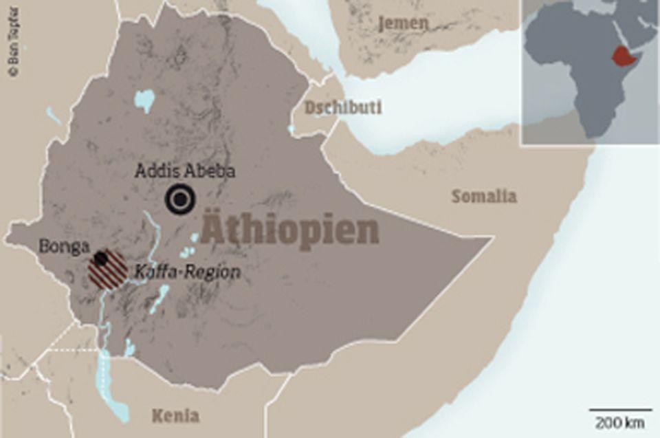 Äthiopien: Die Kaffa-Region (schraffiert) um Bonga im Südwesten Äthiopiens