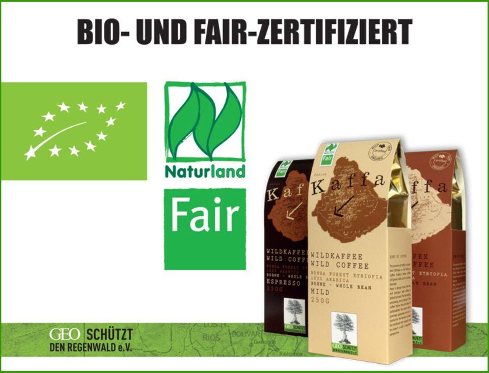 """Zertifizierungen und Logos des """"Kaffa""""-Wildkaffees"""