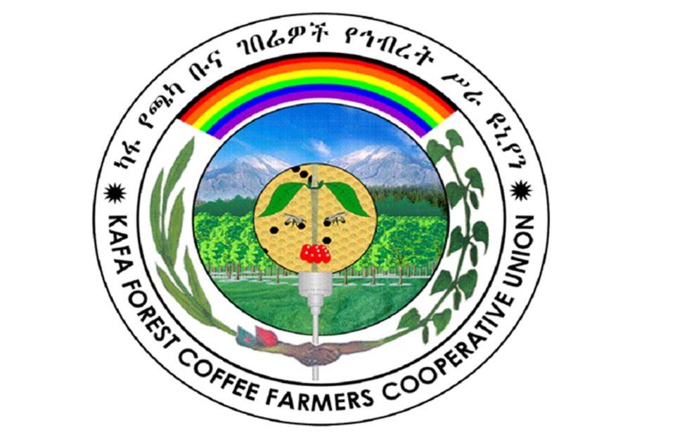 "Äthiopien: Logo der ""Kafa Forest Coffee Farmers Cooperatives' Union"""
