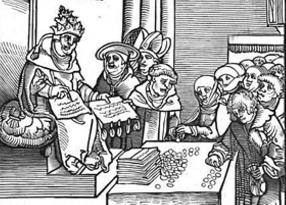 Reformation: Geschäft mit der Angst: Durch den Ablasshandel finanzieren die Päpste Kriegszüge und Kathedralen (Holzschnitt von 1521)