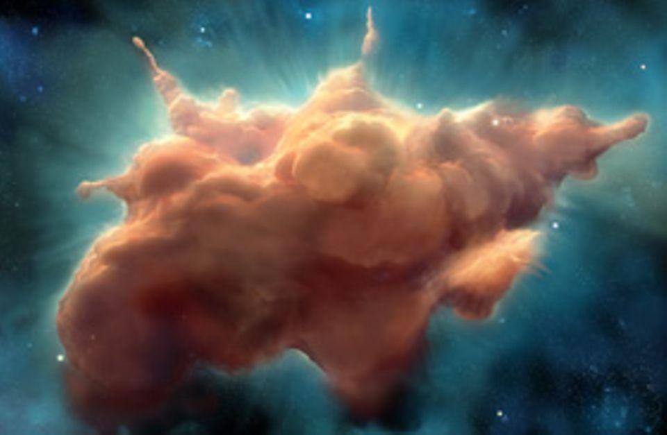 Das Sonnensystem: Die Brutstätte unseres Sonnensystems: ein gewaltiger kosmischer Nebel aus winzigen Staubkörnchen sowie aus Wasserstoff und Helium. Der wolkige Kollos misst mehrere Billiarden Kilometer im Durchmesser - ehe er unter seiner eigenen Schwerkraft allmählich in sich zusammenfällt