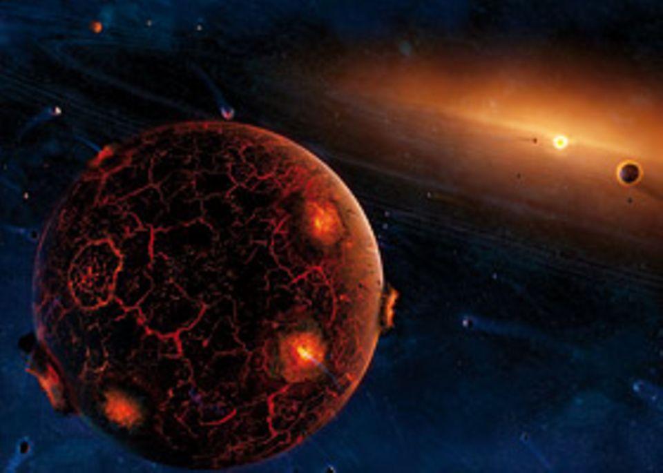 Das Sonnensystem: Im Verlauf von Jahrzehntausenden haben sich in Sonnennähe aus dem einstigen Staub kilometergroße Planetesimale gebildet: Planeten-Vorläufer, die durch ihre Schwerkraft andere Felsbrocken auf ihren Umlaufbahnen an sich ziehen. Bei den Einschlägen entsteht Hitze, die die Steinriesen glühen lässt
