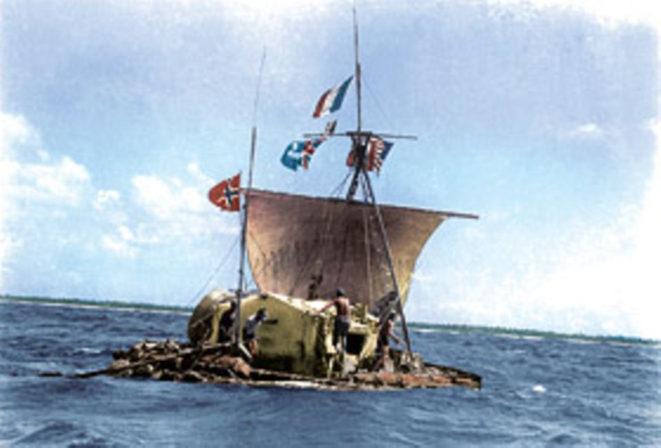 GEOkompakt Das Sonnensystem: Mit einem zerbrechlichen, 14 Meter langen Floß wagt Thor Heyerdahl 1947 eine Tausende Kilometer lange Überfahrt von Peru in Richtung Hawaii. Der Norweger will eines der großen Rätsel der Völkerwanderungen lösen: Woher stammen die Polynesier?