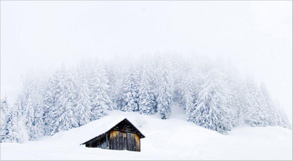 Schiebepuzzle: Nr. 158: Einsame Hütte im Schnee