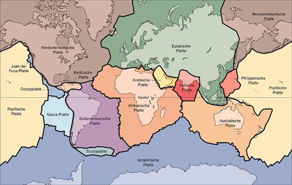 Erdbeben: Die Erde besteht aus mehreren einzelnen großen und kleinen Platten. Hier sind die großen und mittelgroßen Platten zu sehen