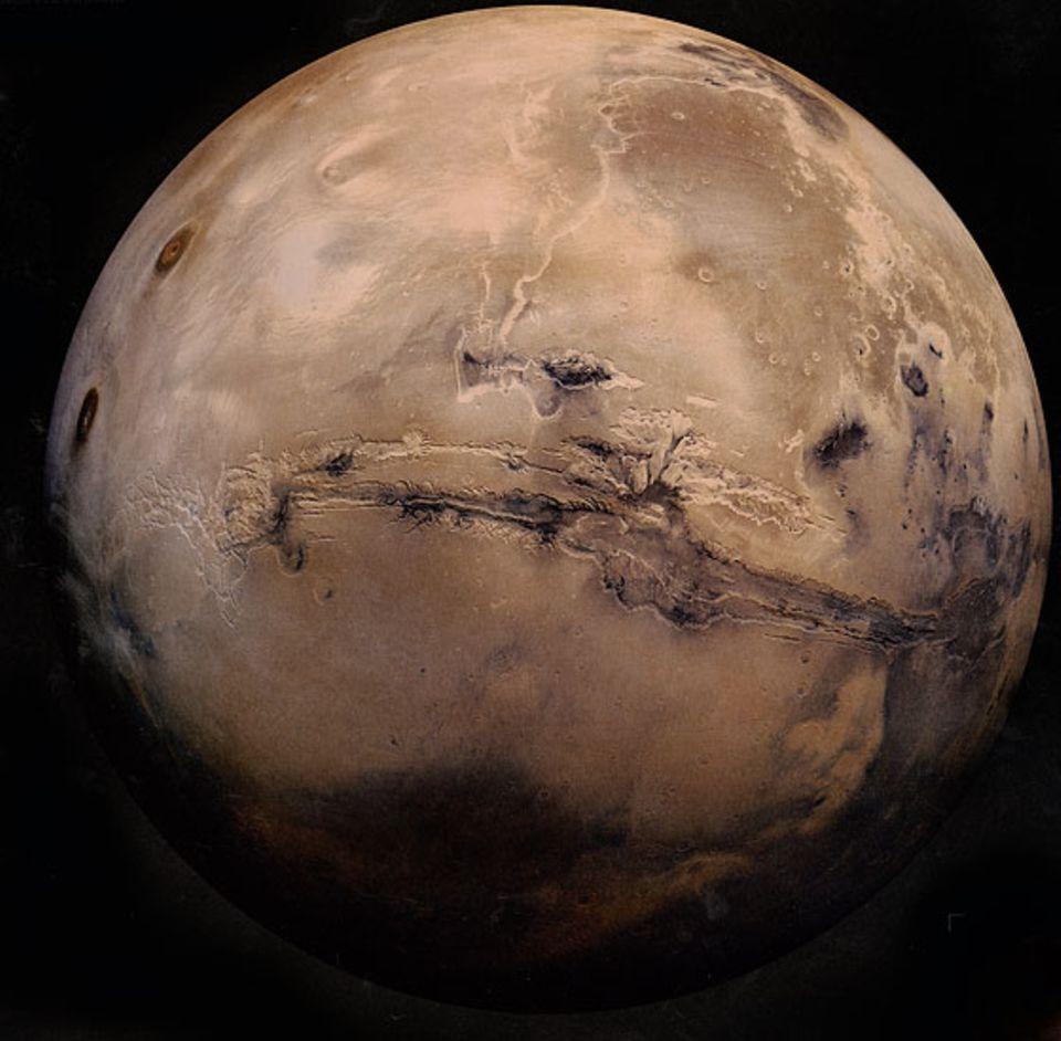 """Forschung: Der Mars ist der vierte Planet unseres Sonnensystems. Er gilt als """"erdähnlich"""", weil er wie die Erde ein Gesteinsplanet ist und es auf ihm Wasser gibt. Noch stehen dort keine Raumstationen, aber die Menschen entwickeln viele Ideen, wie diese aussehen könnten"""