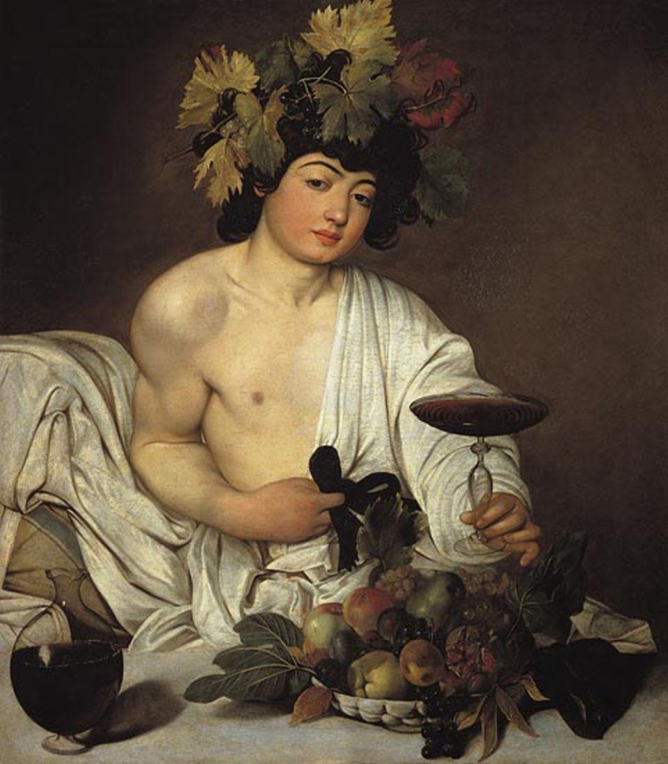 Die Oberfläche des Weins kräuselt sich, in der Karaffe perlen Luftblasen, und der Granatapfel ist vor Reife geborsten. Caravaggio malt so sinnlich wie keiner seiner Konkurrenten; seine Farben sind erdig statt grell, und seine Modelle - hier für den Gott des Weines - holt er sich von den Straßen Roms