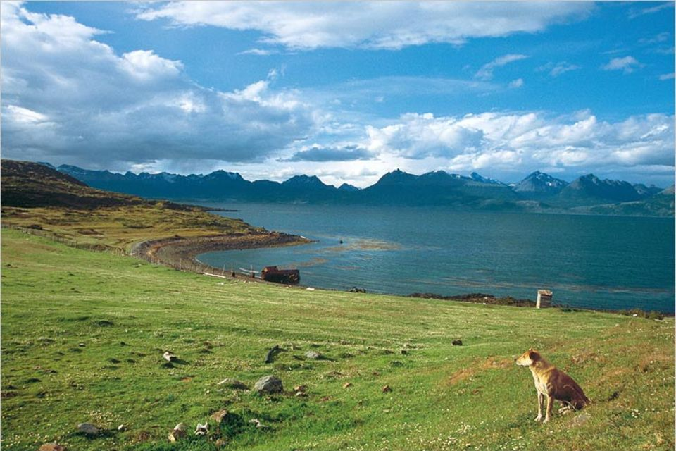 Argentinien: Ein paar Berge noch und dann kein Festland mehr bis zur Antarktis: Von der zu Chile gehörenden Insel Navarino sieht man über den Beaglekanal auf die Ausläufer der Anden an Argentiniens Südküste