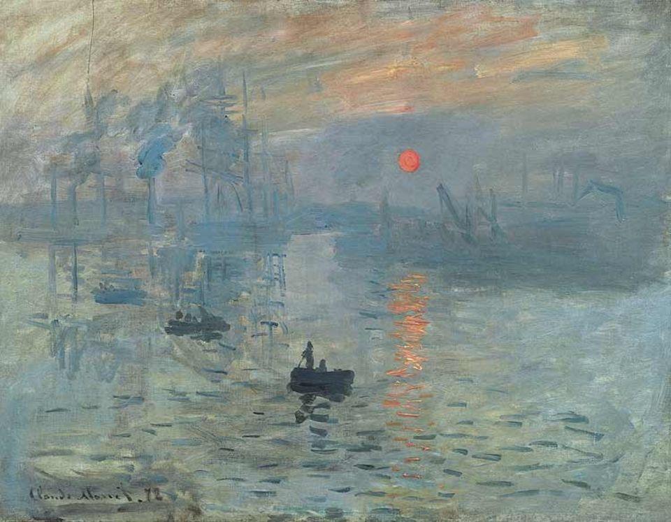 """Claude Monet, """"Impression, Sonnenaufgang"""". 1873 vollendet Monet diese Ansicht des Hafens von Le Havre. Ein Kritiker verwendet den Bildtitel als Spottbezeichnung für die erste Ausstellung der Impressionisten. Doch die Künstlergruppe übernimmt bald selbst diesen Namen. Denn in der Tat geht es den Malern um Monet, Auguste Renoir und Alfred Sisley darum, die Impression - den Eindruck - eines vergänglichen Moments wiederzugeben"""