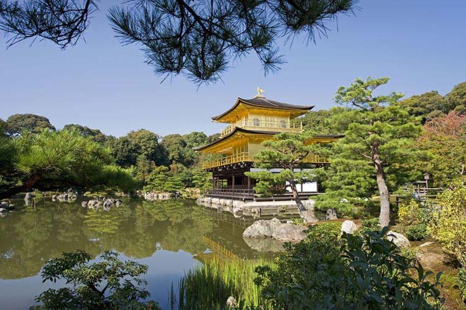 """Der berühmte """"Goldene Tempel"""" ist Ziel für Touristen aus aller Welt, japanische Schulklassen und Gartenfans"""