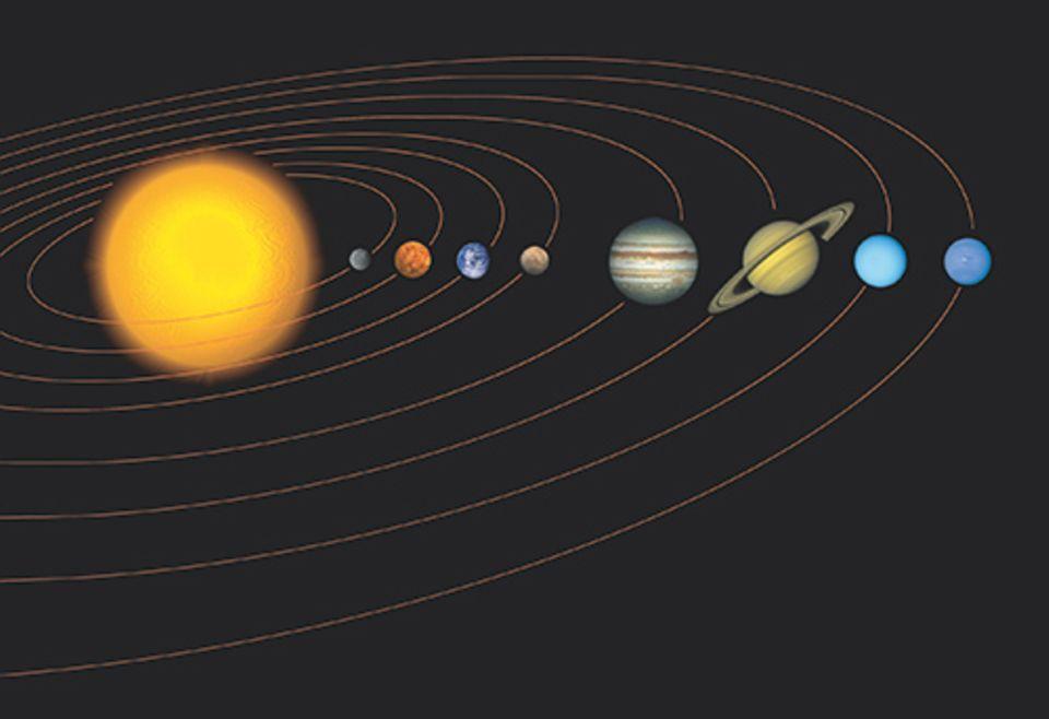 Weltraum: Die Planeten bewegen sich alle auf Umlaufbahnen um die Sonne