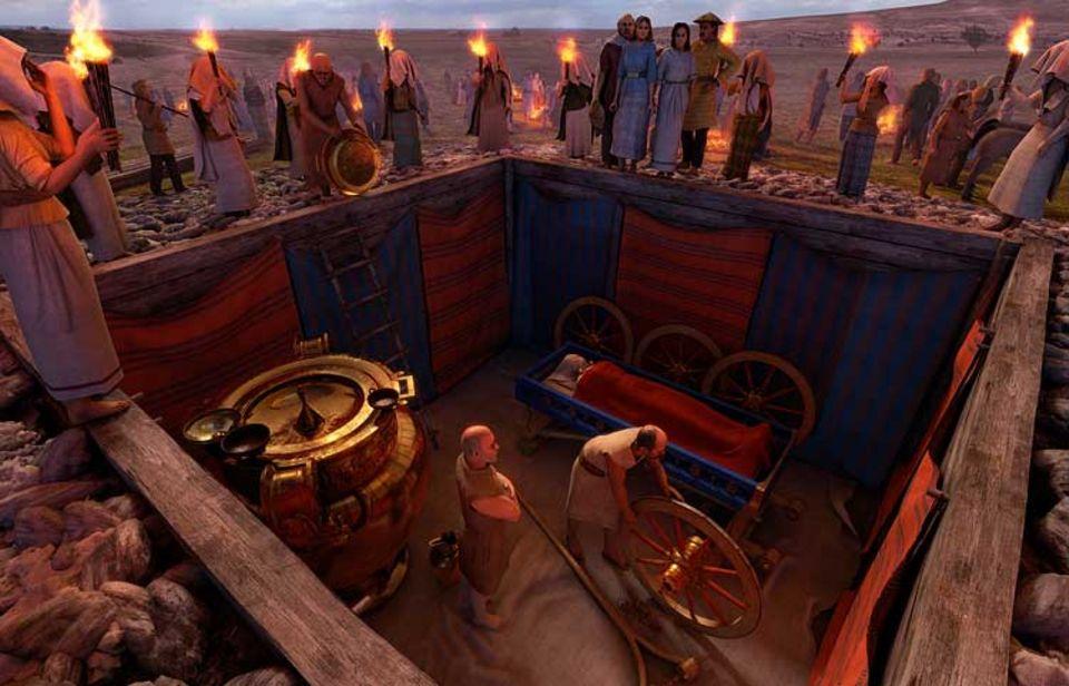 Fürstin von Vix: Die Knechte haben den Wagen zerlegt, die Räder abmontiert und das gewaltige Bronzegefäß der Herrin in die Grube hinabgelassen - doch noch wird die Grabkammer nicht verschlossen. Vorher feiert die Gemeinschaft ein letztes Gastmahl zu Ehren der Toten