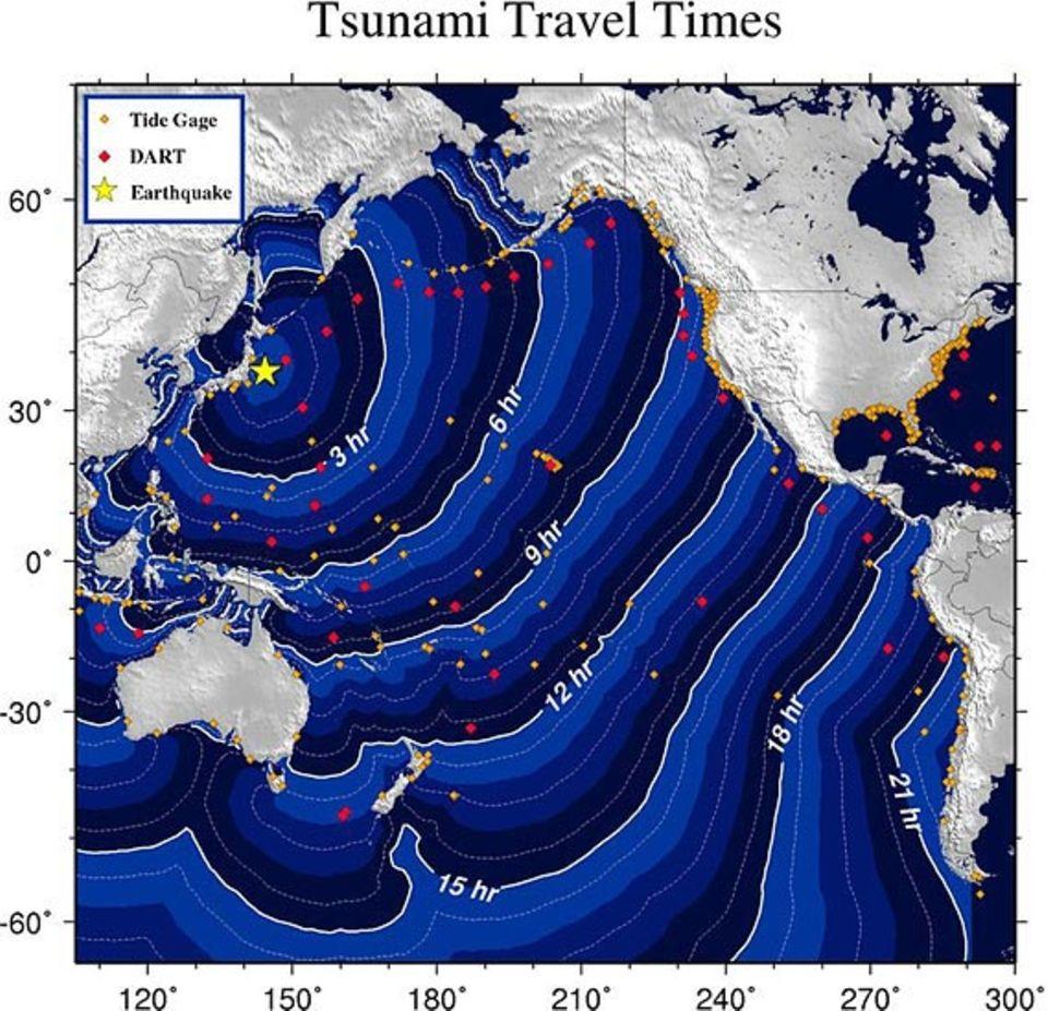 Erdbeben: Die Grafik zeigt die Ausbreitung der Tsunami-Welle vom Epizentrum vor der japanischen Küste