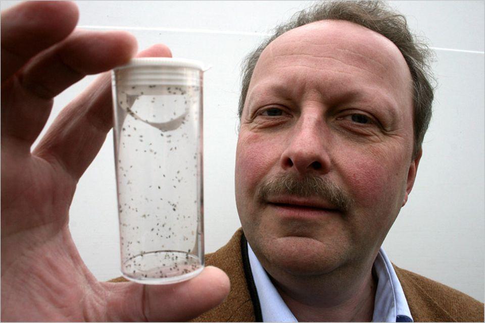 Naturtalente: Dr. Helmut Haardt hält ein Glasröhrchen mit 250 Schlupfwespen in die Kamera. Sie werden unter anderem gegen Blattläuse eingesetzt
