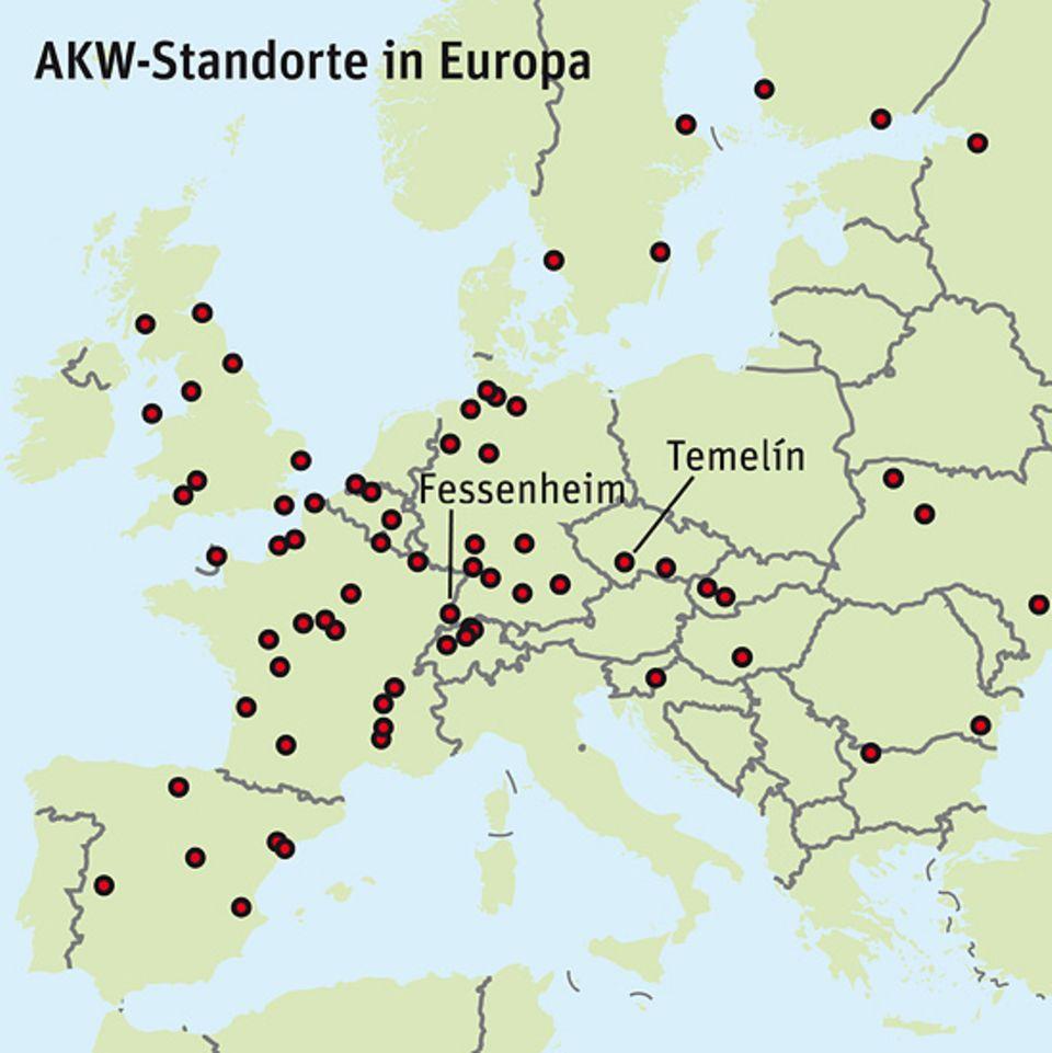 Energiedebatte: Radioaktivität schert sich nicht um Grenzen. So bereiten alte, störanfällige Reaktoren oftmals in Nachbarländern Sorge - etwa Temelín (Tschechien) in Österreich oder Fessenheim (Frankreich) in Deutschland