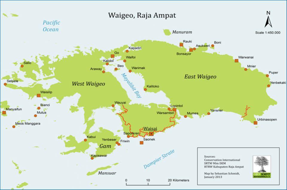 Die rot angezeigte Straße verbindet derzeit nur Gemeinden im Süden von Waigeo. Die Gemeinden im Projektgebiet haben noch keine Straßenanbindung